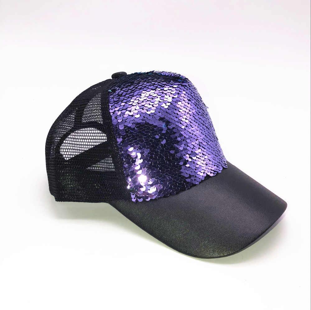 8618a5af ... New Fashion Baseball Cap Women's Adjustable Cap Casual Hat Reflective  Sequins Fashion Snapback Summer Sun Hats