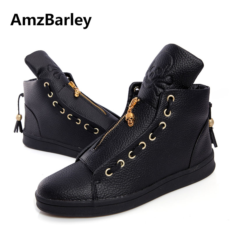 AmzBarley Men Shoes Genuine Leather Skull Hip Hop Man Zipper Casual Big Size Black White Colors Fashion Luxury Brand New Winter valstone 2018 men leather casual shoes hip hop gold fashion sneakers silver microfiber high tops male vulcanized shoes sizes 46