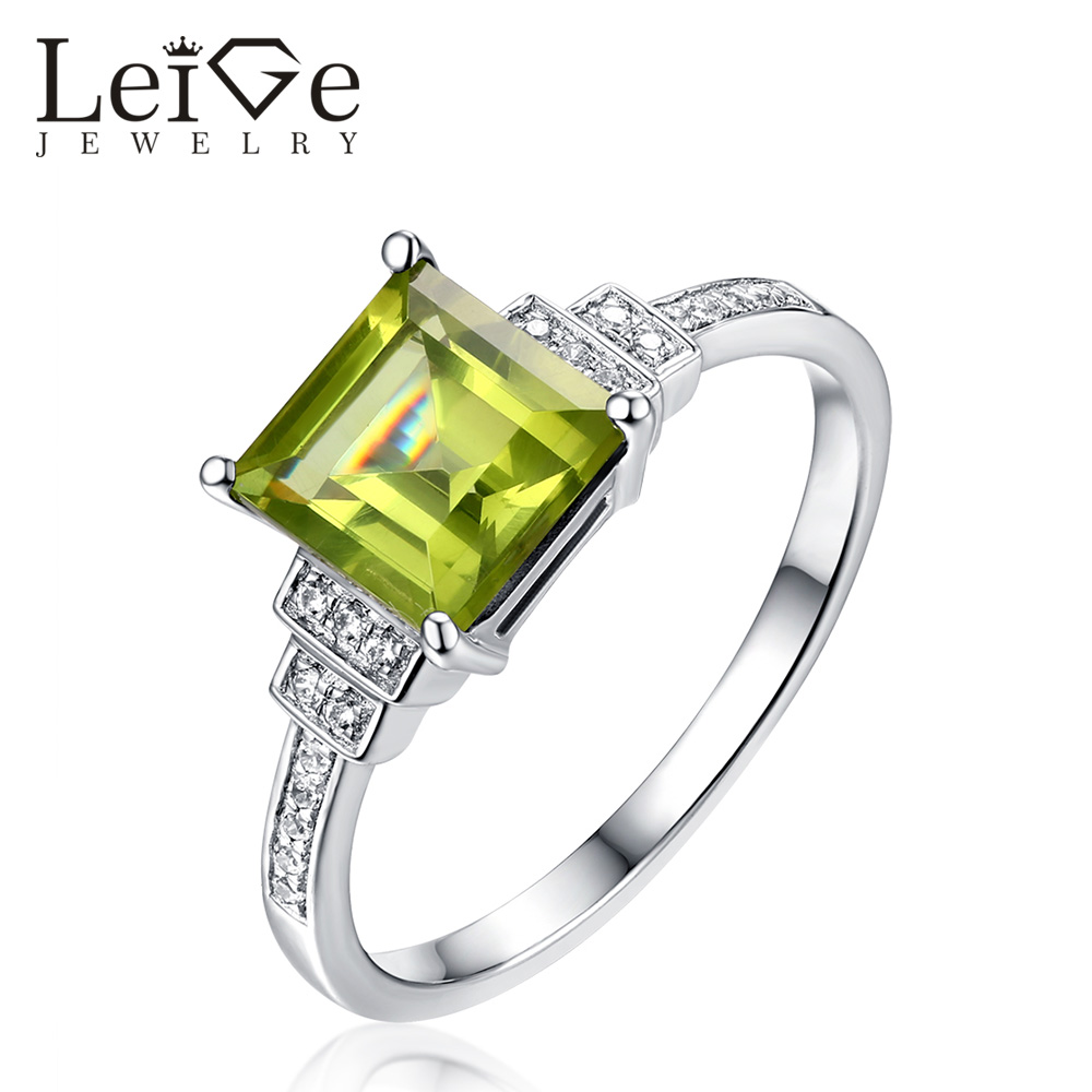 Leige Jewelry Peridot Ring Natural Green Gemstone Square Cut 925 Silver  Wedding Anniversary Rings August Birthstone