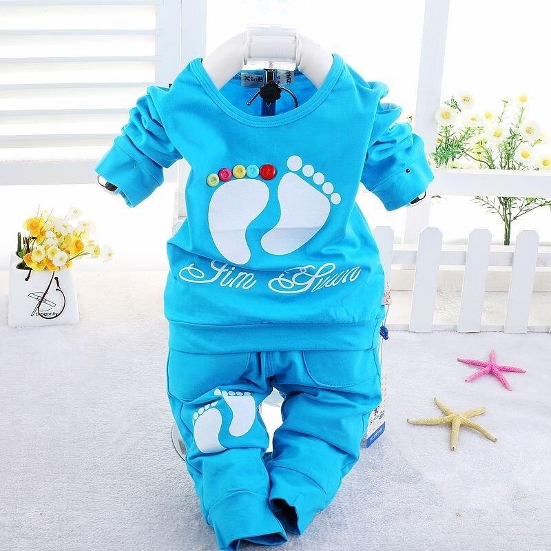 Bebek giysileri setleri Sevimli küçük ayakları sonbahar bebek kız giyim Pamuk 2 adet/takım uzun kollu erkek bebek giysileri set 1-3 yıl