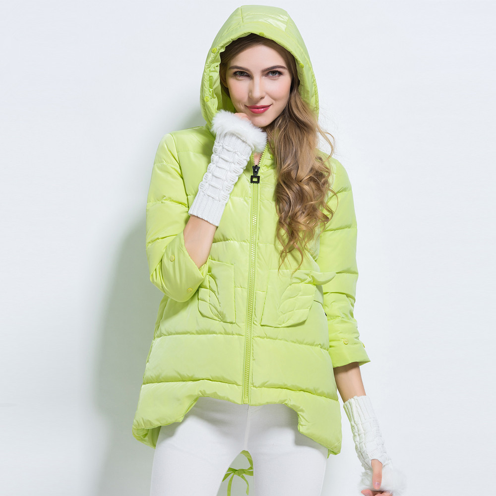 Winter Women   Down   Jacket Whie Duck   Down   Hooded Jackets Long Sleeve Warm Slim   Coat   Parka Female Solid color zipper   Down   jacket