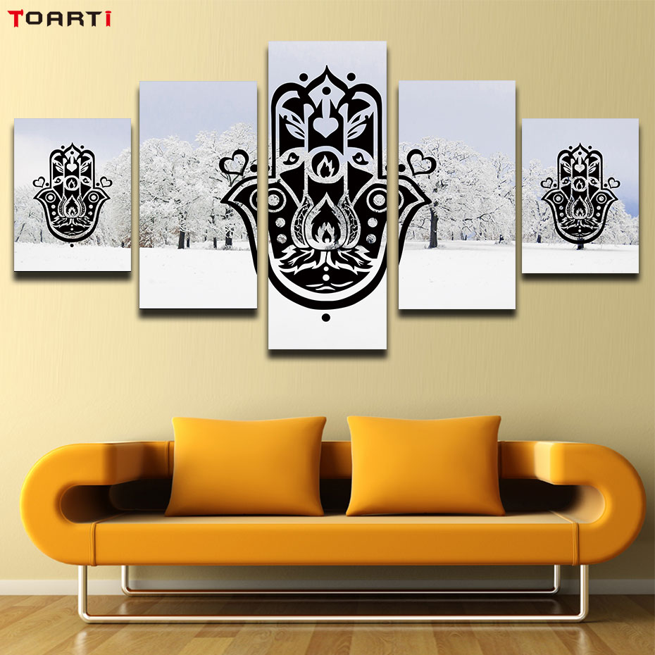 5 Pieces paintings Modular mandala hands pictures art murals living room snow background islamic muslim arabic wall poster print