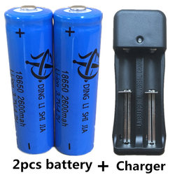New 2pcs 18650 Rechargeable Battery 2600mAh 3.7V Lithium ion batteries For 4.2v Flashlight Battery+EU Plug Dual Battery Charger