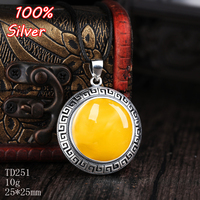 25*25mm 100% 925 Sterling Silverr Gold plated women with amber wax and turquoise pendant blank