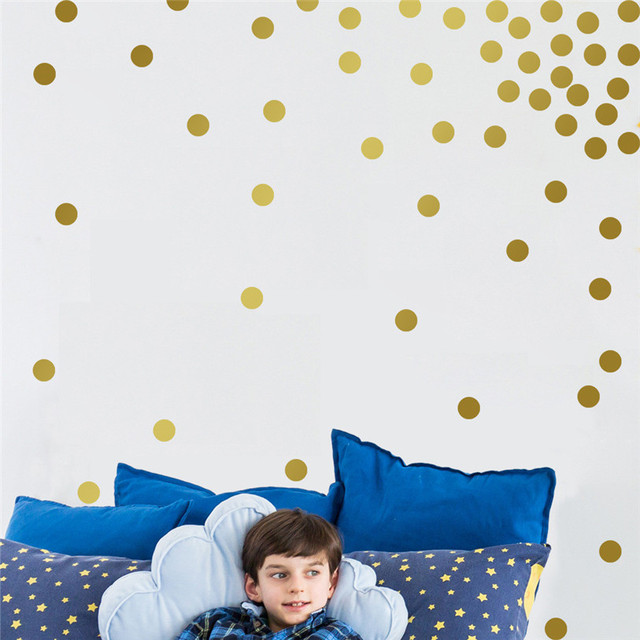 200pcs Gold Dots Removable DIY Wallpaper Sticker Bedroom Windows Glass Decor Home Cabinet Tile Carved Stickers