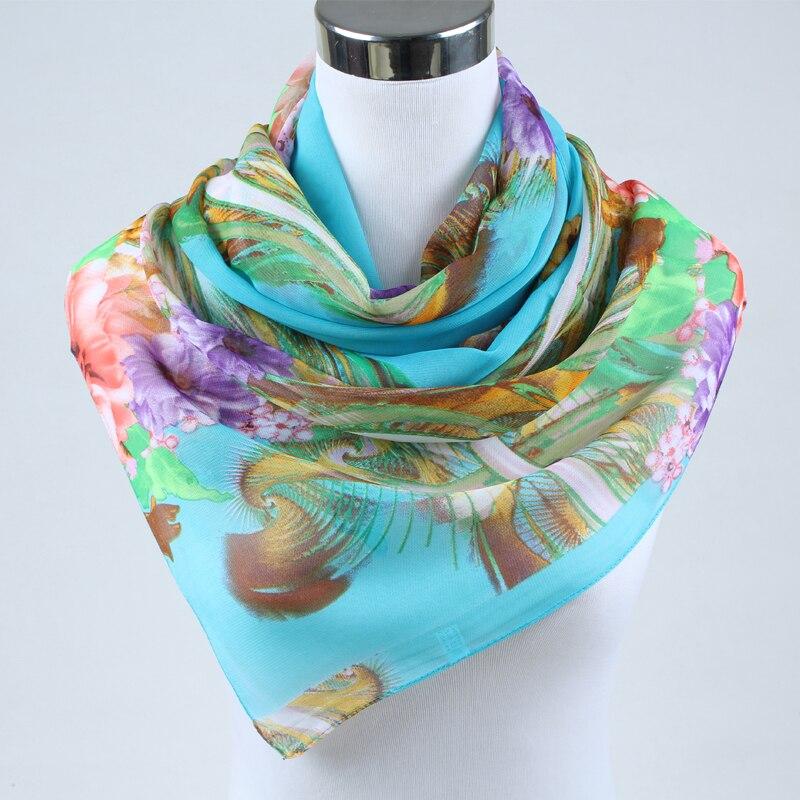 Chaude 2018 de mode femmes printemps mode foulards femmes mince polyester  mousseline de soie châle de soie feuille imprimer châle et foulards 160 50  cm 002 a3b2fc6c66e