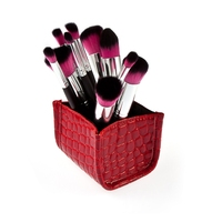 Fashionable Cosmetic Grade Red Alligator Pattern Storage Box 10pcs Makeup Brushes