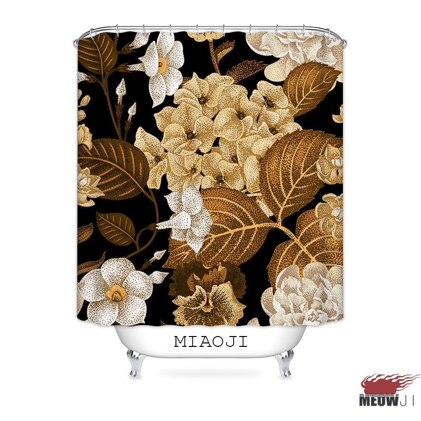 [MIAOJI] Royal Luxury Classic China Red Flowers Printed Waterproof Fabric Shower Curtain Bathroom Screens Curtains Free Shipping