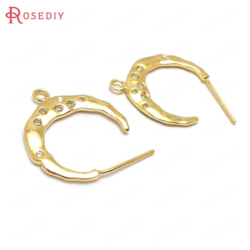 (36072)4PCS 19x17MM 24K Gold Color Brass And Zircon Moon Shape Stud Earrings High Quality Diy Jewelry Findings Accessories