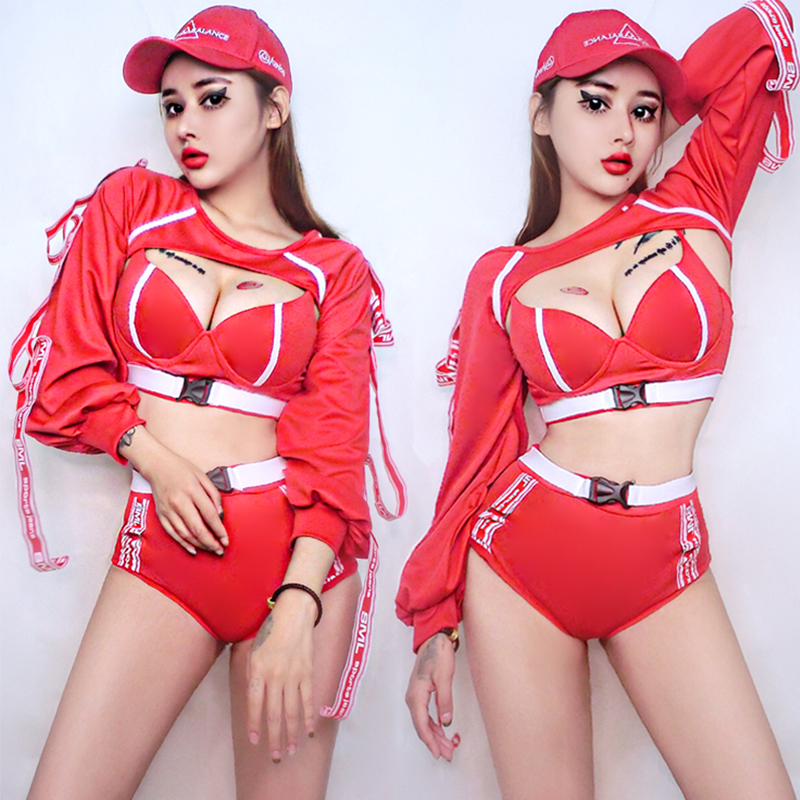 Jazz <font><b>Costume</b></font> Red Rave Outfit <font><b>Stage</b></font> Clothes <font><b>For</b></font> <font><b>Singers</b></font> <font><b>Sexy</b></font> Pole Dance Clothes Women Nightclub Dj  <font><b>Ds</b></font> Performance Wear DN3831 image