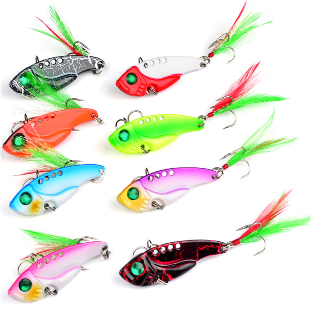 1pcs Metal VIB Fishing Lure 11G/5.5CM Vibration Spoon Lure Crankbait Bass VIB Artificial Hard Baits with Feather Cicada