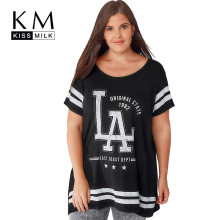Kissmilk Plus Size Letter Print Short Sleeve O Neck T Shirt Black White Women Basic T Shirt Large Size T Shirt 3XL 4XL 5XL 7XL plus size letter print round neck short sleeves t shirt for men