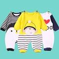 2016 otoño Recién Nacido Mamelucos Del Bebé Mono de Manga Larga de La Muchacha de Los Mamelucos Trajes de Algodón de Moda Infantil ropa de Bebé