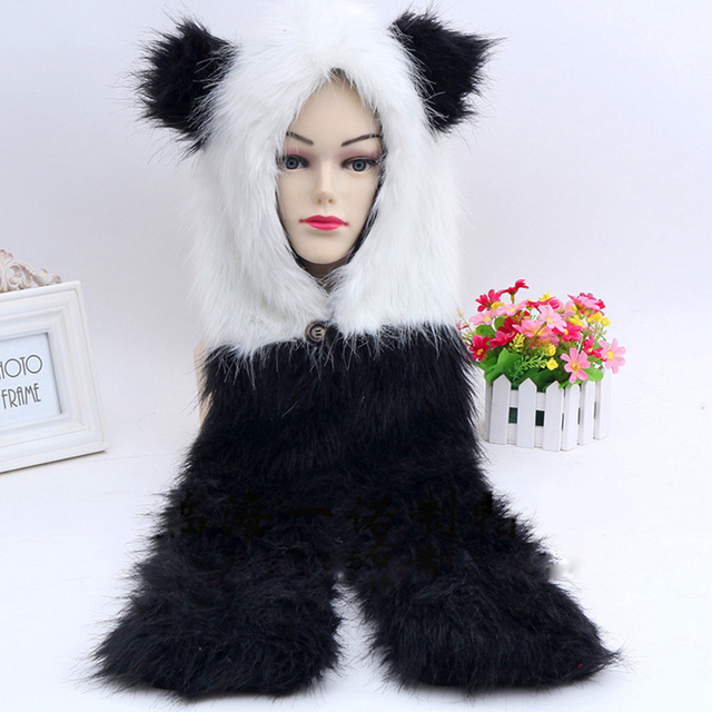 ce759aa705b5f 2018 New Winter Faux Fur Hood Fashion Animal Hoods Hat Panda White Black  Cute Animal Feux Fur Hat Cap Beanies Cartoon Wolf Hat