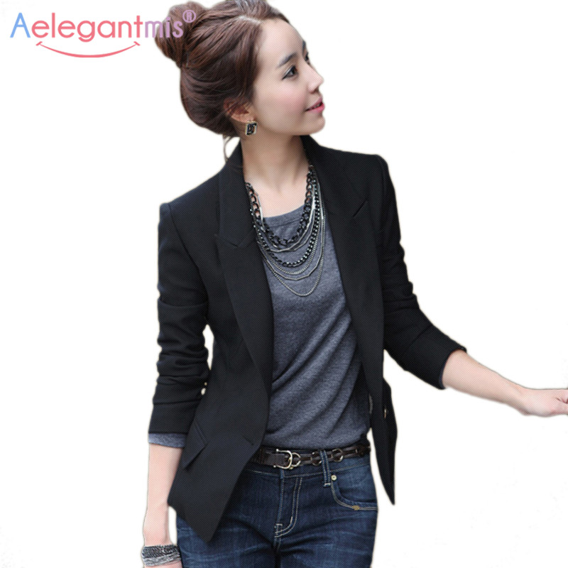 Aelegantmis Autumn Winter Slim Blazers Women Single Button Notched Blazers Black Plus Size Office Lady Work Suit Jacket #1