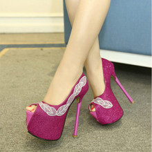 16CM super-high heels fine with waterproof shoes European style nightclub sexy shoes, fish head diamond shoes
