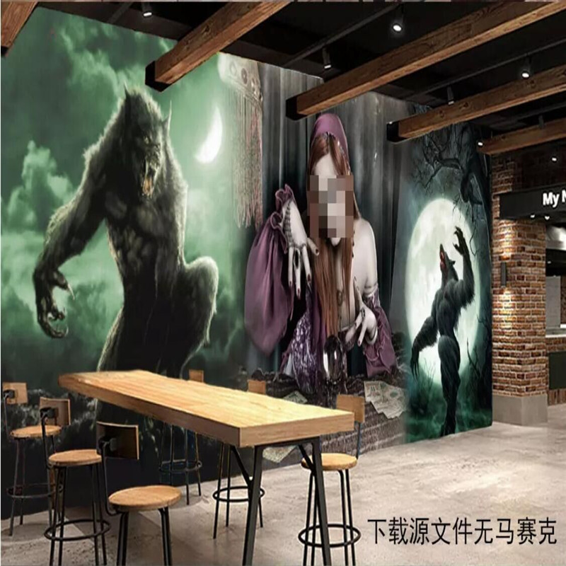 Thriller moonlight theme restaurant tools background wall custom high end mural factory wholesale wallpaper mural photo wall in Fabric Textile Wallcoverings from Home Improvement