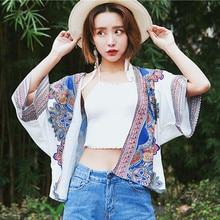 Vintage Ethnic Pattern Print Summer Chiffon Cardigan Women Batwing Sleeve Crop Tops Boho Kimono Beach Sunproof Cover Ups
