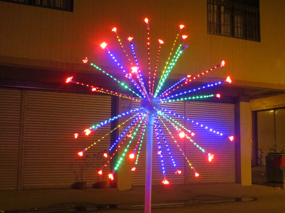 Free ship LED Fireworks Light Christmas new year party Holiday decor Light 6.5ft/2m Outdoor Home decor  Red+Blue+Green+Yellow new year 100m 500led ball light led string light frost fogging wedding christmas holiday party festival decoration fairy outdoor