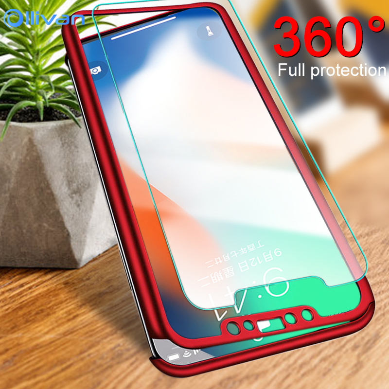 Official Website Ollivan Luxury 360 Full Protection Phone Cases For Iphone Xr Xs Max X Case For Iphone 6 6s 7 8 Plus 5 5s Se Cover With Glass Excellent In Quality