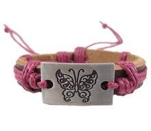 2013 moda artesanal tecido símbolo Da Borboleta charme genuíno da correia de couro wrap Braceletsjewelry do vintage dos homens das mulheres