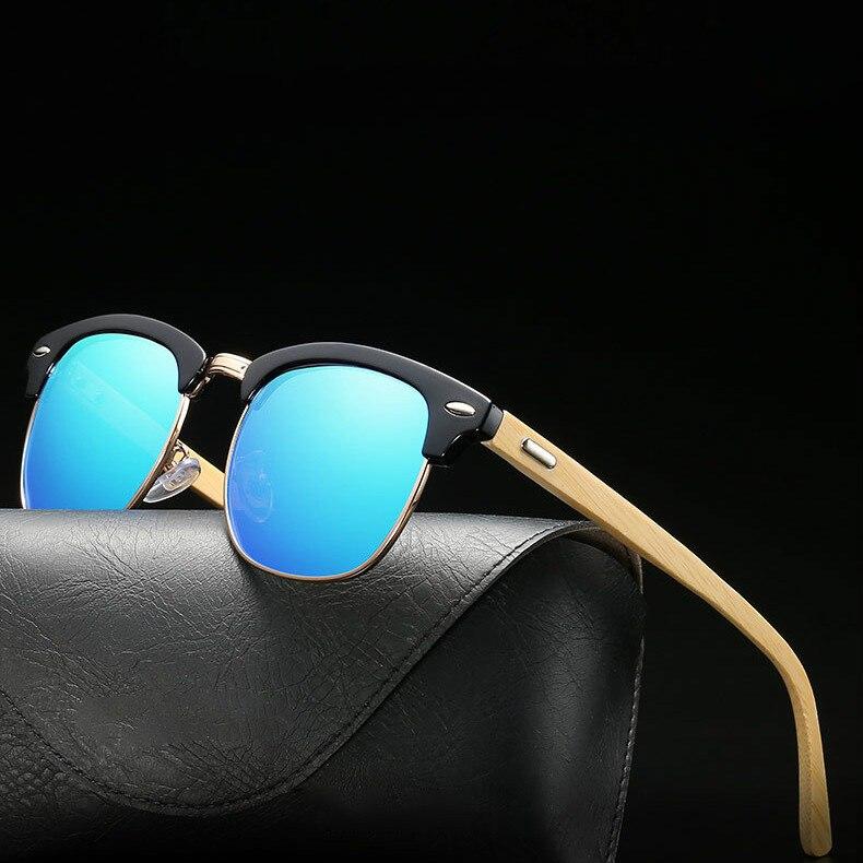 Half Metal Bamboo Sunglasses polarized for Men Women Brand Designer Mirror Sun Glasses male Gafas Oculos De Sol ray