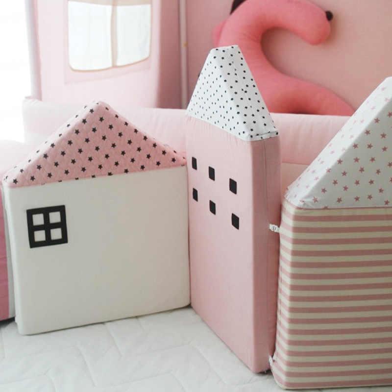 طقم/4 قطعة/المجموعة من القطن على شكل منزل الطفل الوفير سرير المهد وسادة وسادة لينة الاطفال السرير Pretector منصات ديكور غرفة الأطفال هدايا حديثي الولادة