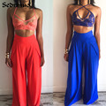 2017 Fashion Summer lace top 2 Pieces Jumpsuit Sexy Long pants Strapless Crop Tops High Waist Wide Leg Pants Rompers Red/blue
