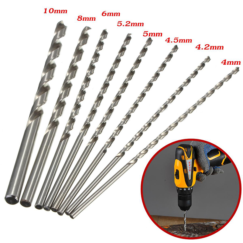 1pc Mirco HSS Twist Drill Bit 200mm Straight Shank Round Drill Bits For Metal Power Tools 4-10mm 19pcs hss titanium twist drill bit set high speed steel straight round shank 1 10mm durable power tools for metal drilling