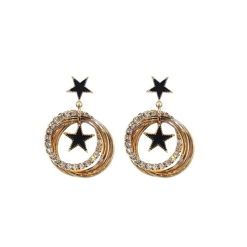 Fashion Korean Earrings Star Rhinestone Geometric Earrings for Women Dangle Earrings Multi layer Round Statement Wedding Gift in Drop Earrings from Jewelry Accessories