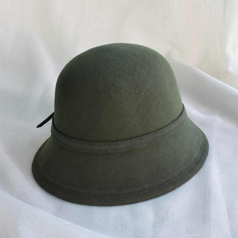 15996afe1b5c1d ... Winter Army Green Wool Felt Fedora Hats For Women Ladies Cloche Hats  Female Chapeau Free Shipping ...