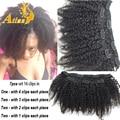 Raw virgen del indio del pelo Afro Curl Clip Ins doble trama Remy indio Afro rizado rizado Clip en extensiones del pelo humano de negro Women