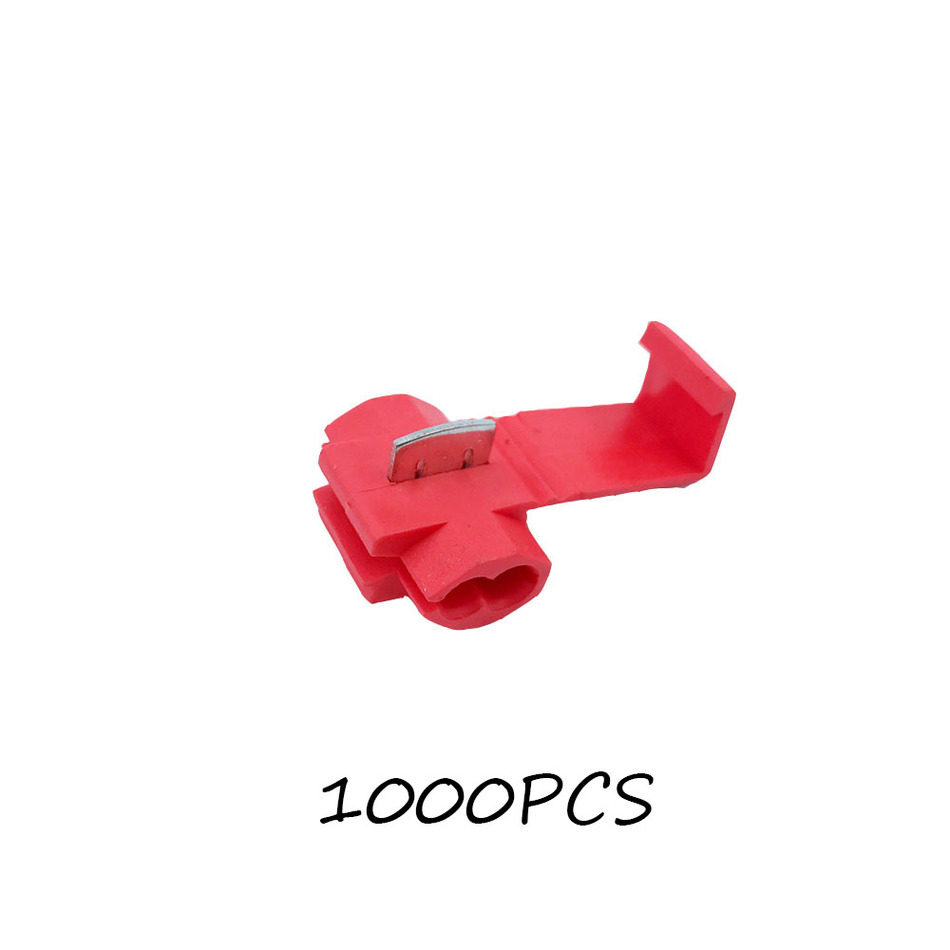 Scotch Lock Quick Splice Connectors Terminals Red 1000PCS Wire Electrical Cable Crimp For 22-18 AWG 1000 pcs sv1 25 3 7s awg 22 16 red pre insulated fork terminals connector terminals red 1000pcs for awg 22 16