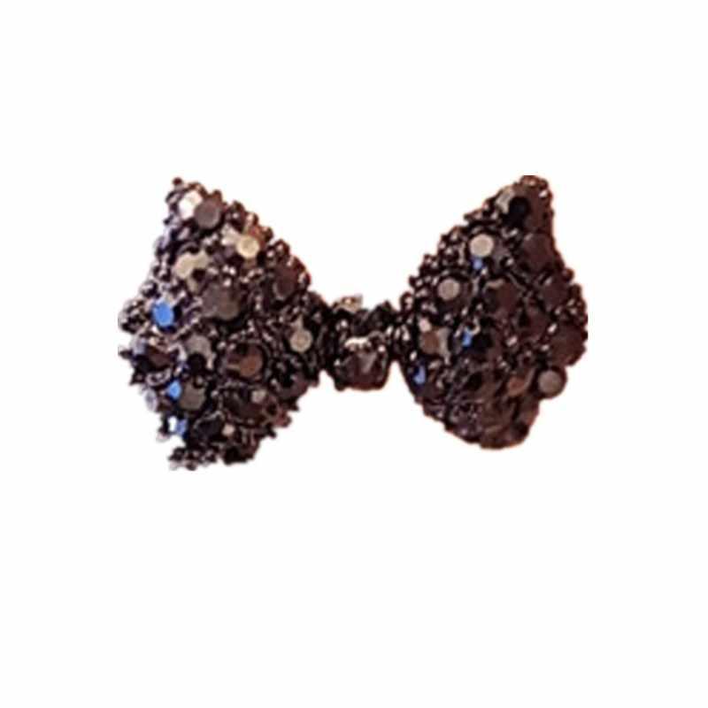 Joyería encantadora 1 par de diamantes de imitación con incrustaciones de cristal Bowknot en forma de perno de oreja Color negro
