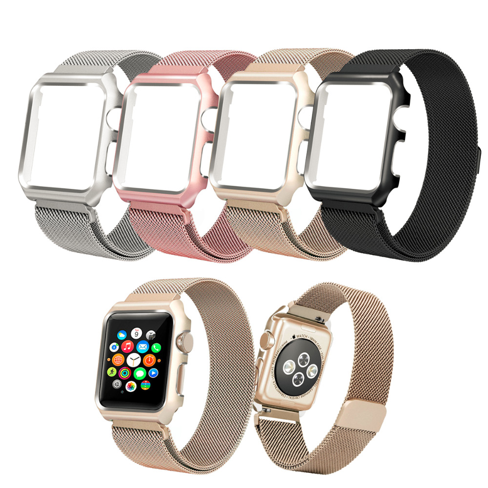 Apple Watch Band Stainless Steel Mesh Magnetic Replacement Wrist Band with Metal Protective Case for Apple Watch  Rose Gold 42mm