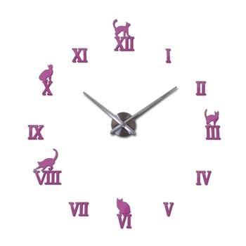 Hot design large decorative wall clocks brief design diy clocks digital watch quartz living room 3d cat wall stickers 10
