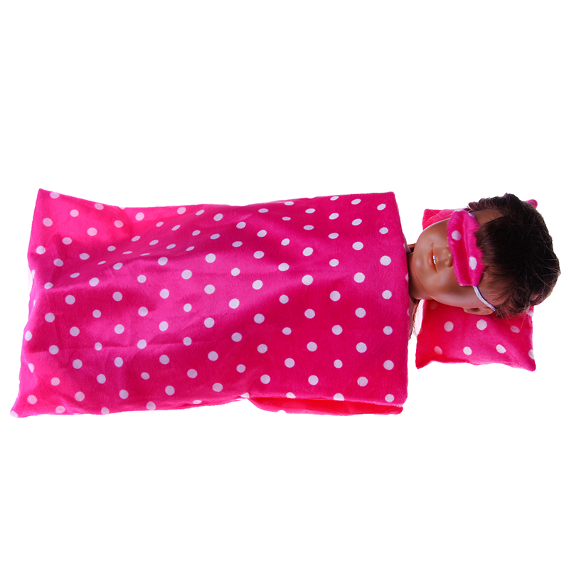 Sleeping bag+Patch for 18 inch american girl doll for baby gift n971 doll accessories pink rabbit pattern sleeping bag pillow doll clothes wear fits 18 american girl doll for baby gift lg74