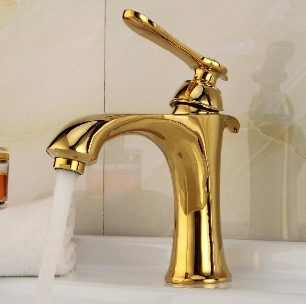Classic Beautiful Deck Mounted Single Handle Counter top Basin Faucet Gold Brass Hot and Cold Water Faucet Bathroom Mixer Taps basin faucets deck mounted gold faucet for bathroom single handle single hole basin mixer tap hot and cold water taps al 7318k