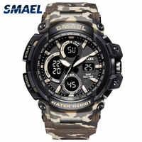SMAEL herren Chronograph Uhr Wasserdicht 50M Sport Swim Uhr Dual Display Quarzuhr 1708B Camo Militär Armee Herren uhren