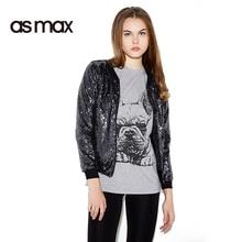asmax 2017 Dark Blue Autumn Fashion Jacket Women Casual Sequim Zipper Cardigan Sexy O-neck Long Sleeve Lady Bomber Jacket