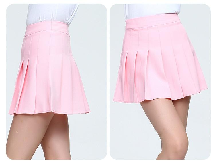 Girls A Lattice Short Dress High Waist Pleated Tennis Skirt Uniform with Inner Shorts Underpants for Badminton Cheerleader-17