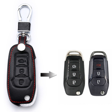 For Ford F-150 250 350 Explorer Ranger KA Fiesta Mondeo Eco Sport 1 Pcs Car Key Case Cover Leather Bag 3Buttons Holder Chain