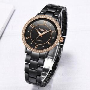 Image 3 - SunKta Luxus Rose Gold Schwarz Keramik Wasserdichte Uhren Frau Klassische Serie Damen Uhr Top Qualität Damen Strass Uhr