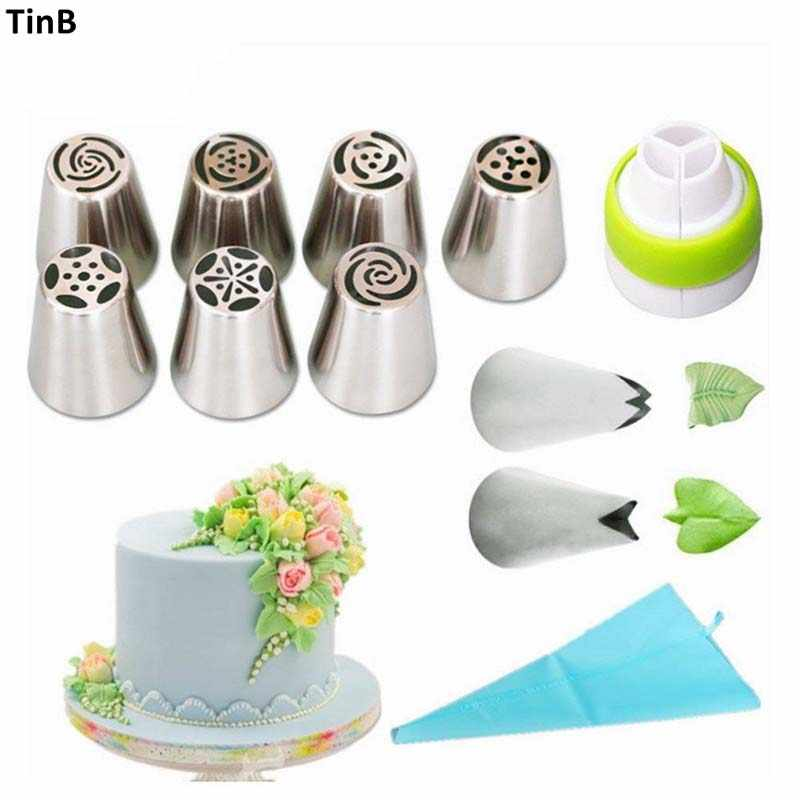 11 Pcs/set Rusia Tulip Stainless Steel Piping Icing Nozzle untuk Krim Kue Aksesoris Krim Kue Dekorasi Baking Alat Tips