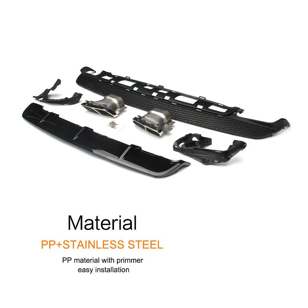 Автомобильный стиль полипропилен+ нержавеющая сталь задний бампер диффузор для губ с выхлопными наконечниками для benz CLA260 CLA45