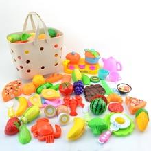 42 шт. Детские ролевые игры Кухонные Игрушки Чистящие фрукты овощи серии набор с корзиной для детей обучения приготовления пищи навыки наборы
