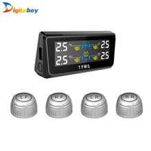 Digitalboy Solar Energy Car TPMS with 4 Sensors Tire Pressure Monitor & Temperature Monitoring System Real time Display Alarm