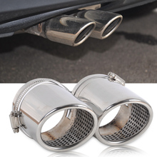 DWCX 2X STAINLESS STEEL EXHAUST TAIL REAR MUFFLER TIP PIPE For VW Passat B6 2006 2010