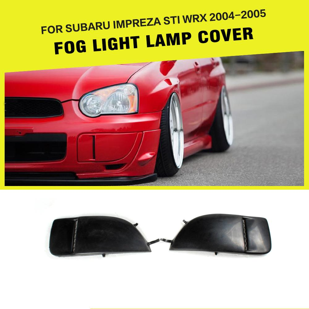 PU Black Front Fog Lights Side Bumper Cover Lamp Trim for <font><b>Subaru</b></font> <font><b>Impreza</b></font> <font><b>STI</b></font> <font><b>WRX</b></font> <font><b>2004</b></font> 2005 2PCS/Set image