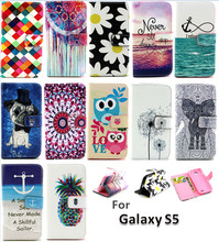 Cute Cartoon Owl Leather For Samsung S5 Flip Cover Samsung Galaxy S5 Case